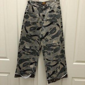 POL Camo Cheetah High Rise Cropped Jeans